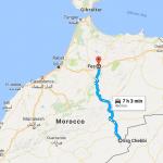Fez Fes to erg chebbi merzouga desert Map
