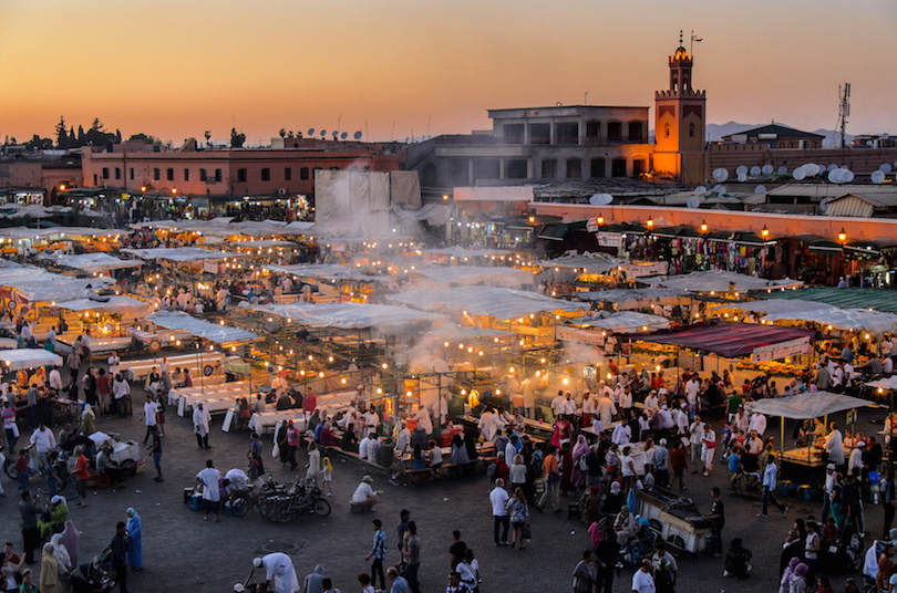Jamaa elfna Djemaa el Fna in Marrakesch Marrakech Private Morocco Trips - Marrakech Shared Tour - Fes Desert Itinerary